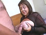 Busty fat grandma gets licked pussy