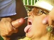 Hot granny gets cum outdoor in orgy