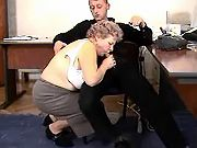 Old secretary teaching young employee a sex lesson
