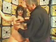 Brunette preggo bounded and spanked