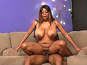 Chesty ebony honey taking huge pecker up her ass