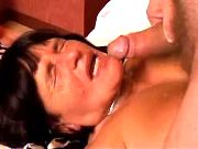 Retired housewife in stockings is full of fire