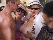 Old vixens enjoy males striptease in wild party