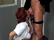 Old plump nurse deep throats fresh cock on floor