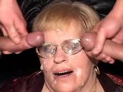 Grandma gets DP and cumload on face in wild orgy