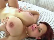 Lonely sexual hottie with huge boobs masturbates