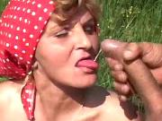 Aged mature tastes cum on tongue