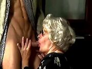Lustful granny greedily throats fresh cock of guy
