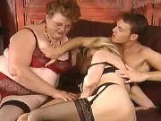 Fat old vixen in stockings has fun in wild orgy