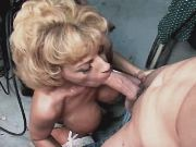 Blonde busty milf sucks dick n nuts