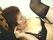 Man drills granny in black lingerie