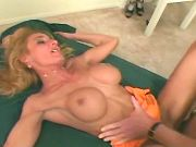 Blonde milf has fun with bald man