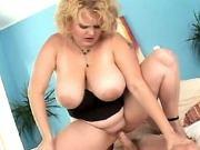 Blonde fatty rides cock n sucks him