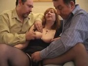 Grandma and two men enjoy oral sex