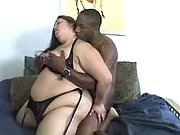 BBW in lingerie gets cum after fuck