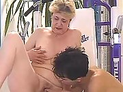 Grandma sucks and drinks cum in gym