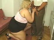 Fat blonde sucks cock of horny man