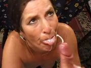 Perky widow in years gets cumload after continence
