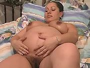 Lonely beautiful indian preggo masturbates in bed