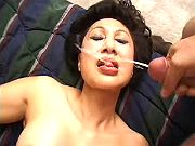Sexy milf getting facial explosion after threeway