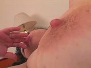Nourished mature masturbate on bed