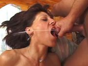 Lustful old lady gets hard anal and eats hot cum