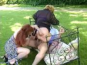 Spoiled matrons share man and fistfuck in nature