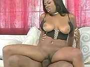 Black sweetie with pierced pussy gets screwed hard