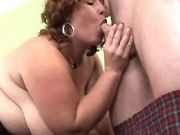 Fatty greedily suck appetizing cock