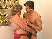 Fat old lady sucks cock n titfucks
