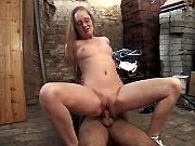 Redhead mommy going crazy on floor in dirty barn