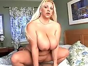 Fat blonde whore sucks cock and rides him