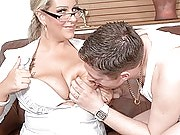 Blonde fattie in business outfit and glasses offers her shaved pussy to a customer