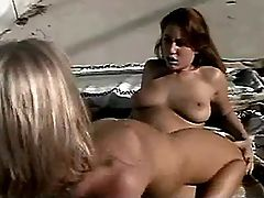 Hot blonde lesbian crazy jumps on strapon outdoor