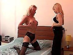 Mature lesbian caresses fresh pussy