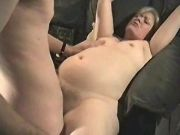 Amateur guy with hairy pussy drills chubby granny