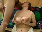 Fat redhead whore sucks hard cock
