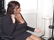 Cute black fattie got bored at her work and decided to nail a hung job applicant