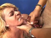 Mature with hairy pussy gets cum on lips after sex