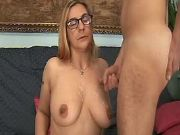 Granny with hairy pussy get cum on tits after anal