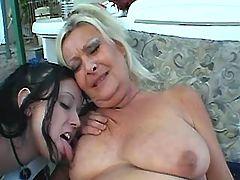 Lewd lesbian depraves honest granny