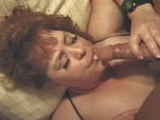 Aged chubby lady in stockings gets cum in mouth