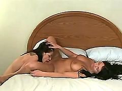 Cute lesbian in boots make oral sex