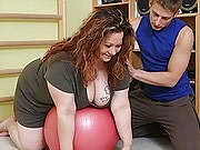 He helps that fat girl work out and she gives his cock access to her super wet pussy