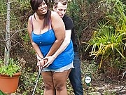 Super luscious and juicy black BBW girl docked by her horny golf coach at his place