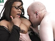 Lovely black fattie seduces a guy during job interview and has his cock everywhere