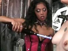 Lesbian struck teats by electricity