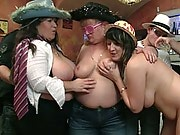Sexy fat party whore has a good time with two guys at this wild group scene