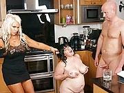 Brunette BBW slut gets her friends hubby eat cream off her massive mounds