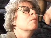 Granny in glasses fucks and gets cumload on face
